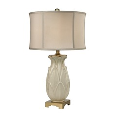 Dimond Lighting Ivory Glaze, Antique Brass Table Lamp with Drum Shade