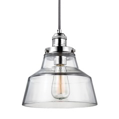 Feiss Baskin Polished Nickel Mini-Pendant Light with Drum Shade