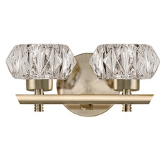 Modern Vintage Brass LED Bathroom Light with Clear Shade 3000K 800LM
