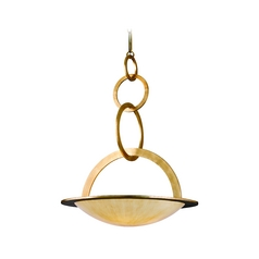 Corbett Lighting Modern Pendant Light with Beige / Cream Glass in Champagne Leaf Finish 62-75