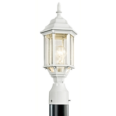 Kichler Post Light with Green Glass in White Finish