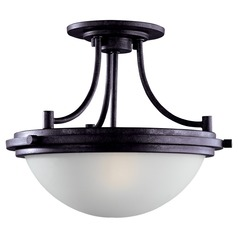 Modern Semi-Flushmount Light with White Glass in Blacksmith Finish