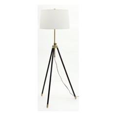 Modern Floor Lamp with White Shade in Antique Brass Finish