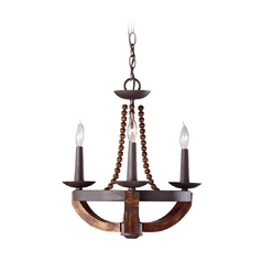 Mini-Chandelier in Rustic Iron / Burnished Wood Finish