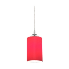 Chrome Mini-Pendant Light with Red Cylinder Glass