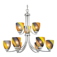 Modern Chandelier with Art Glass in Polished Chrome Finish