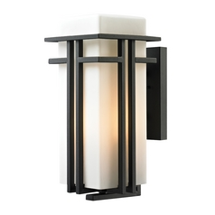 LED Outdoor Wall Light with White Glass in Textured Matte Black Finish