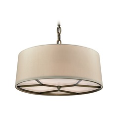 Elk Lighting Baxter Brushed Antique Brass Pendant Light with Drum Shade