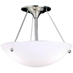 Kichler Brushed Nickel Semi-Flushmount Ceiling Light with White Glass