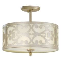 Semi-Flushmount Light with White Glass in Nanti Champagne Silver Finish