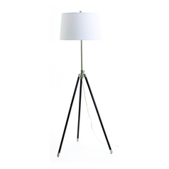 Modern Floor Lamp with White Shade in Satin Nickel Finish