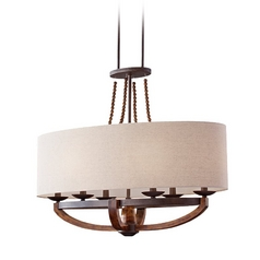 Burnished Wood Pendant Light with Oval Shade and Six Lights