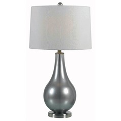 Modern Table Lamp with White Shade in Metallic Pewter Finish