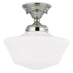 12-Inch Schoolhouse Semi-Flushmount Ceiling Light in Polished Nickel