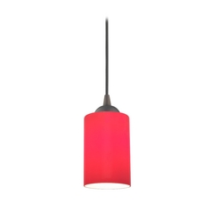 Design Classics Lighting Bronze Mini-Pendant Light with Red Cylinder Glass 582-220 GL1008C