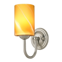 Sconce with Butterscotch Art Glass in Satin Nickel Finish