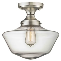 12-Inch Clear Glass Schoolhouse Ceiling Light in Satin Nickel Finish