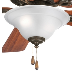 Progress Ceiling Fan Light Kit with White Glass in Forged Bronze
