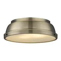 Golden Lighting Duncan Ab Aged Brass Flushmount Light
