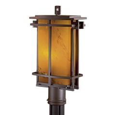 Modern Post Light with Amber Glass in Dorian Bronze Finish