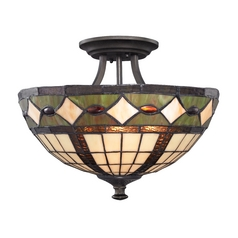 Design Classics Lighting Semi-Flushmount Light with Tiffany Glass in Bronze Finish 1617 TB