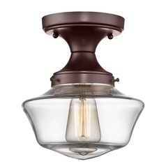 8-Inch Wide Bronze Clear Glass Schoolhouse Ceiling Light