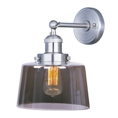 Sconce Wall Light with Clear Glass in Satin Nickel Finish