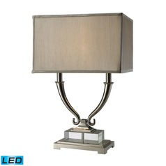 Dimond Lighting Polished Nickel, Clear Crystal LED Table Lamp with Rectangle Shade