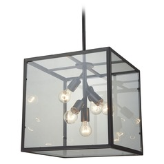 Dimond Cluster Box Oil Rubbed Bronze Pendant Light with Square Shade
