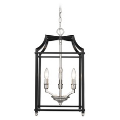 Leighton PW 3 Light Pendant in Pewter with Black