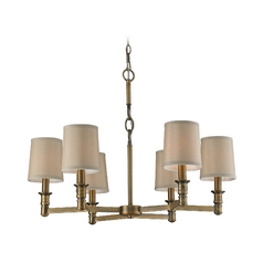Chandelier with Beige / Cream Shades in Brushed Antique Brass Finish