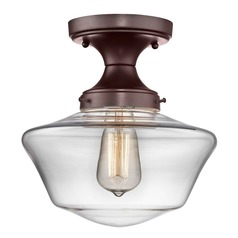 10-Inch Wide Bronze Clear Glass Schoolhouse Ceiling Light