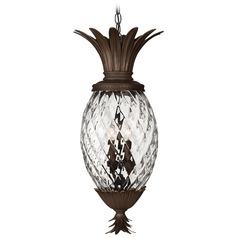 Copper Bronze Pineapple Outdoor Hanging Light with Clear Glass