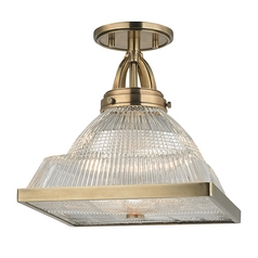 Prismatic Glass Semi-Flushmount Light Brass Hudson Valley Lighting