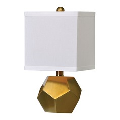 Art Deco Table Lamp Set Brass Pentagon Cubes by Uttermost Lighting