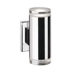 Modern Chrome LED Sconce with Clear Shade 3000K 705LM