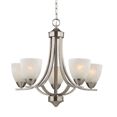 Satin Nickel Chandelier with Alabaster Glass Shades