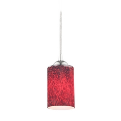 Modern Mini-Pendant Light with Red Art Glass Cylinder Shade