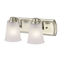 2-Light Vanity Light with Frosted Prismatic Glass in Satin Nickel Finish