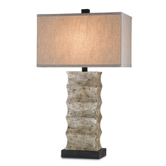 Currey and Company Lighting Distressed Black / Annato Antique Silver Table Lamp with Rectangle Shade