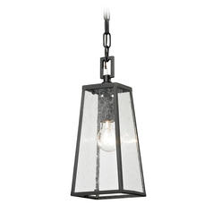 Outdoor Hanging Light with Clear Glass in Textured Matte Black Finish