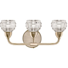 Transitional Vintage Brass LED Bathroom Light with Clear Shade 3000K 1200LM