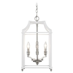 Leighton PW 3 Light Pendant in Pewter with White