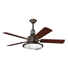 Kichler Ceiling Fan with Light with White Glass in Olde Bronze Finish