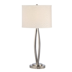Modern Satin Nickel Table Lamp with Oval Beige Shade