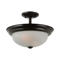 Semi-Flushmount Light with Alabaster Glass in Heirloom Bronze Finish