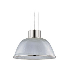 Modern Pendant Light with Clear Glass in Brushed Nickel Finish