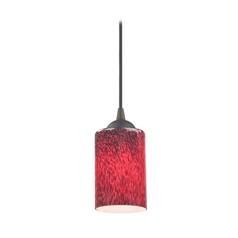 Bronze Mini-Pendant Light with Red Art Glass Cylinder Shade