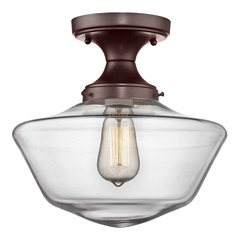 12-Inch Wide Bronze Clear Glass Schoolhouse Ceiling Light