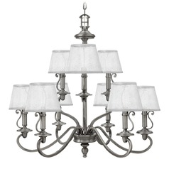 Hinkley Plymouth 2-Tier 9-Light Chandelier in Polished Antique Nickel